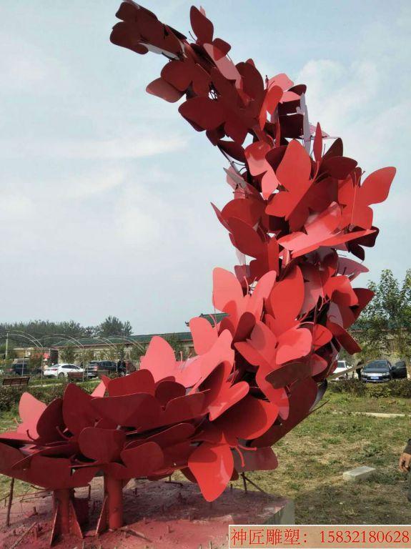 不锈钢红色蝴蝶喷漆效果
