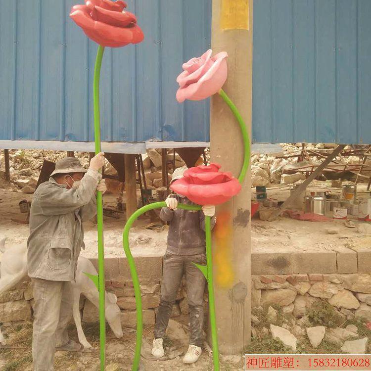 单支玫瑰花雕塑